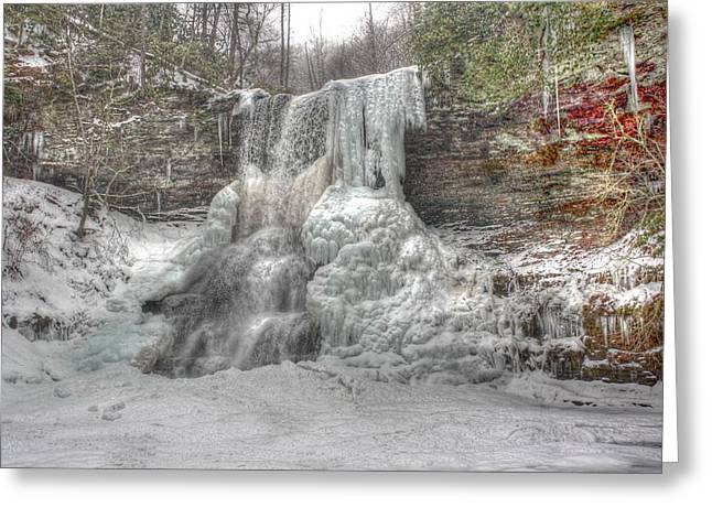 Cascades In Winter 1 Greeting Card by Dan Stone