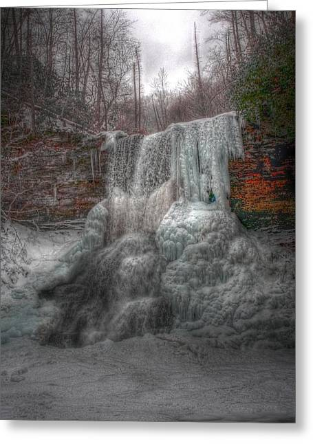 Cascades In Winter 3 Greeting Card by Dan Stone