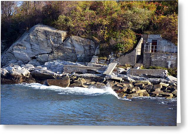 Greeting Card featuring the photograph Casco Bay Fort Area Scene by Maureen E Ritter