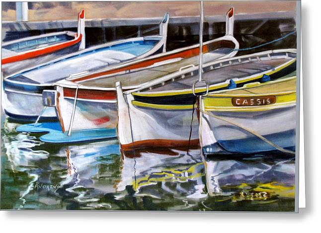 Greeting Card featuring the painting Cassis Harbor by Rae Andrews