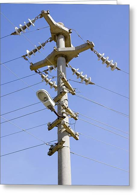 Cast Concrete Electricity Pylon. Greeting Card