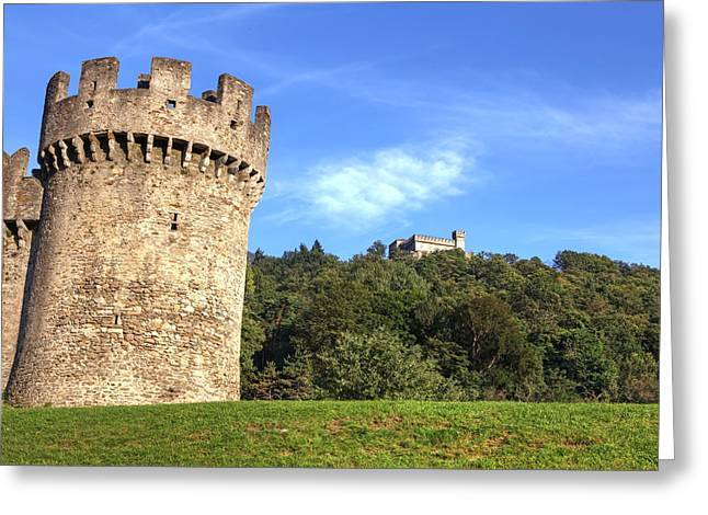 Castello Montebello And Sasso Corbaro In Bellinzona Greeting Card