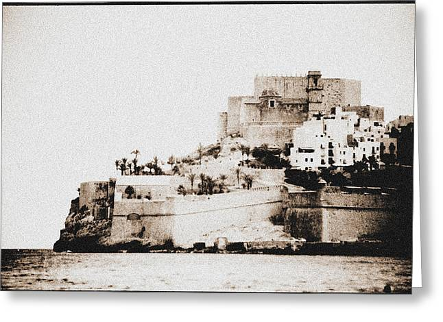 Castillo Del Papa Luna Peniscola Spain Greeting Card by Hans English
