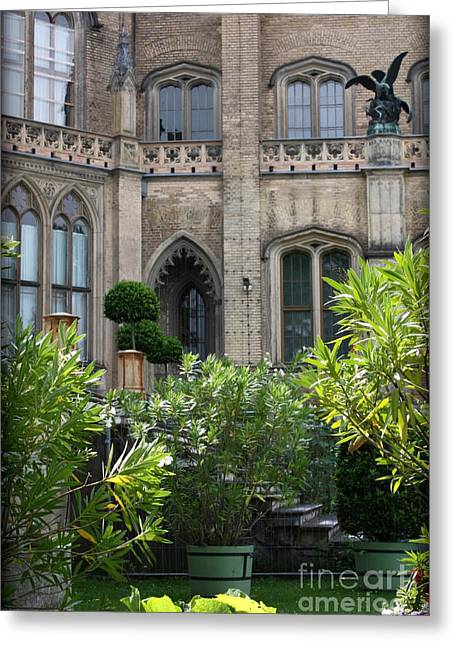 Castle Garden Courtyard Greeting Card by Carol Groenen