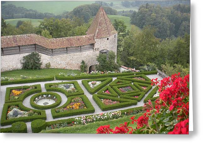 Castle Of Gruyeres Switzerland Greeting Card by Marilyn Dunlap