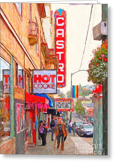 Castro Street San Francisco Greeting Card by Wingsdomain Art and Photography