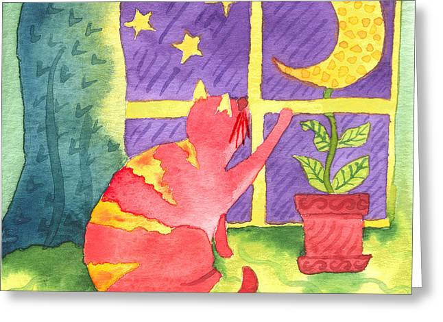 Cat And Moon Greeting Card by Kristen Fox