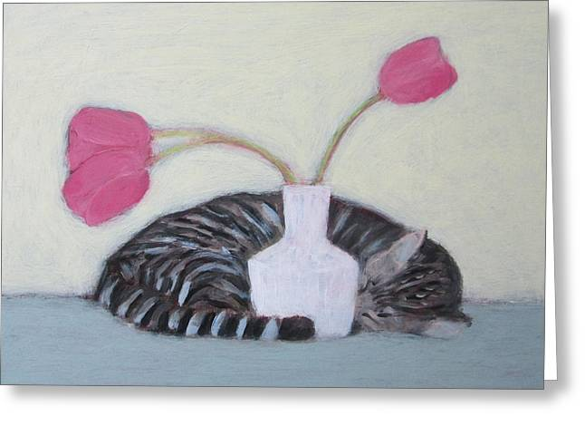 Cat And Tulips Greeting Card