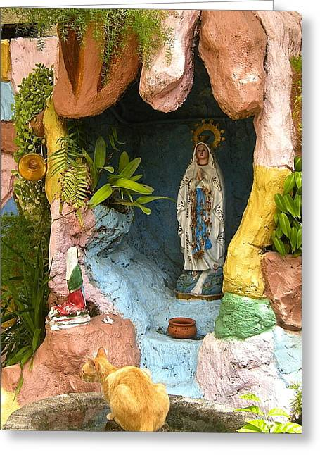 Greeting Card featuring the photograph Cat At The Grotto by Victoria Lakes