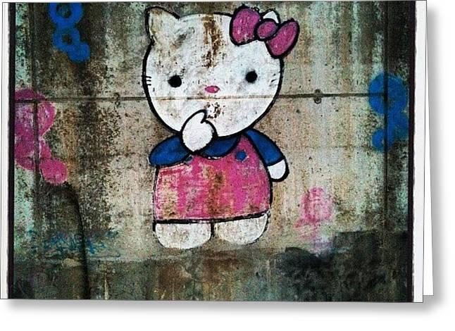 #cat, #baby, #cartoon, #graffiti Greeting Card