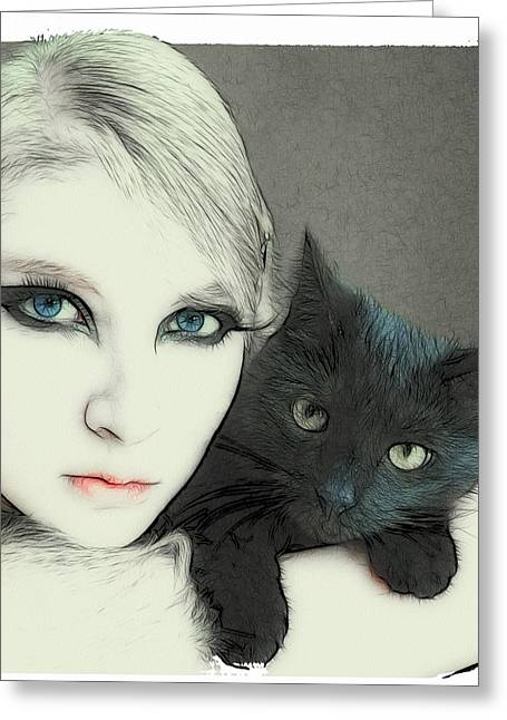 Cat Cuddles 3 Greeting Card by Tilly Williams