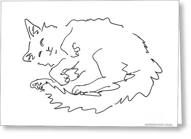 Cat-drawings-black-white-1 Greeting Card by Gordon Punt