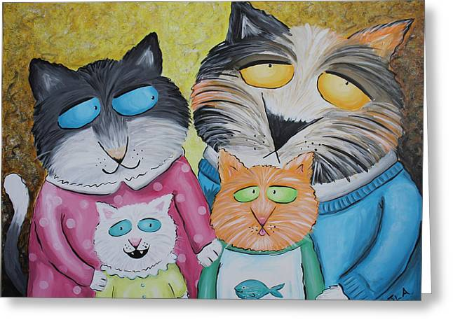 Cat Family Portrait Greeting Card by Jennifer Alvarez