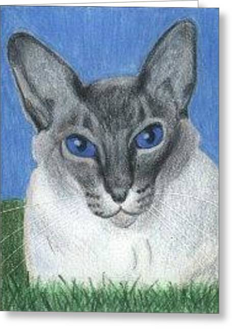 Cat In Grass - Aceo Greeting Card