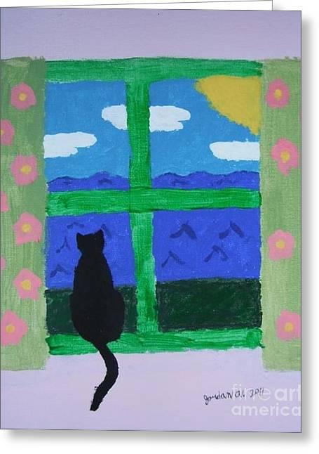 Cat In Window Greeting Card by Jeannie Atwater Jordan Allen