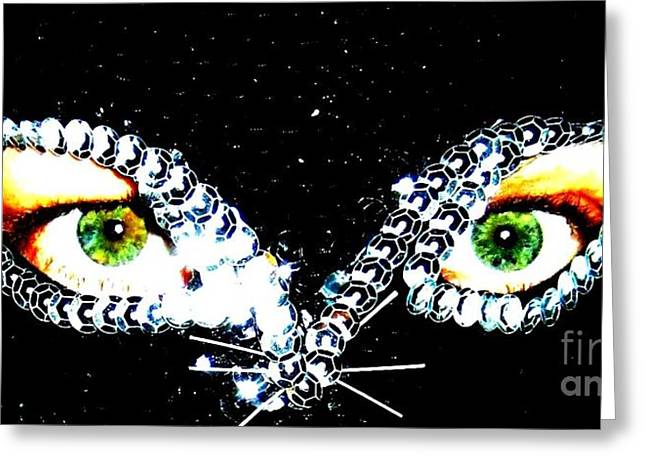 Cat Mask Greeting Card by C Lythgo