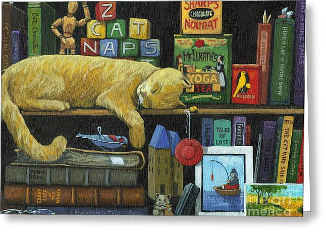Cat Naps - Old Books Oil Painting Greeting Card by Linda Apple