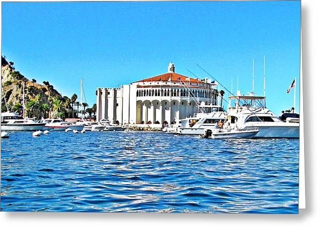 Catalina Casino View From A Boat Greeting Card by Lauren Serene