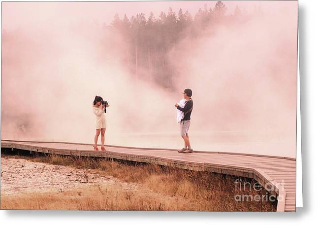 Catching The Steam In Yellowstone Greeting Card