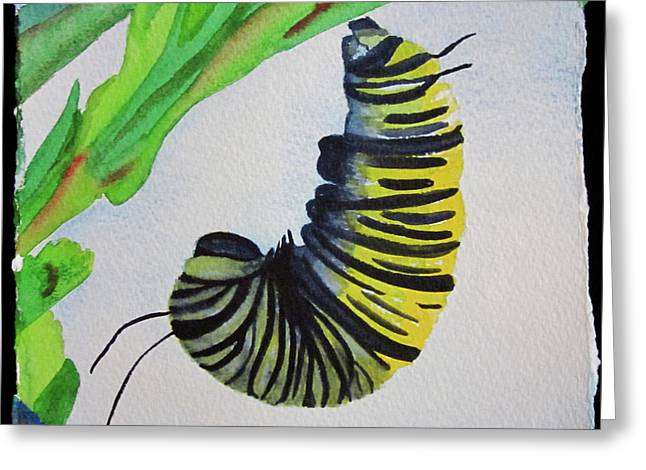 Greeting Card featuring the painting Caterpillar by Teresa Beyer