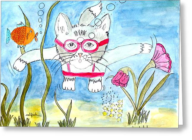 Greeting Card featuring the painting Catfish by Lou Belcher