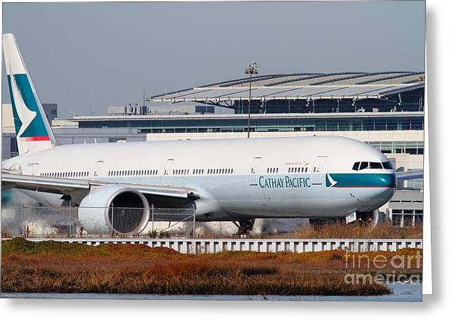 Cathay Pacific Airlines Jet Airplane At San Francisco International Airport Sfo . 7d11850 Greeting Card
