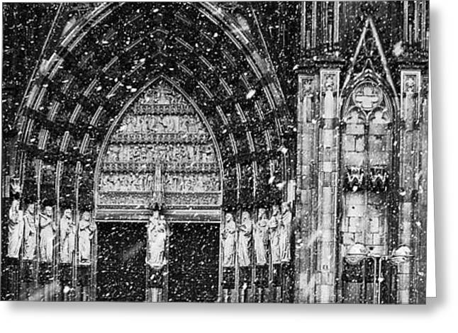 Greeting Card featuring the photograph Cathedral In The Snow Panorama by Andy Prendy