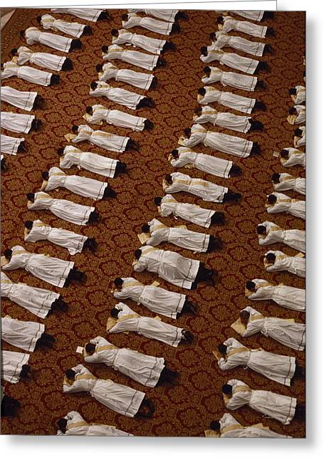 Catholic Clergy Prostrate Themselves Greeting Card by James L. Stanfield