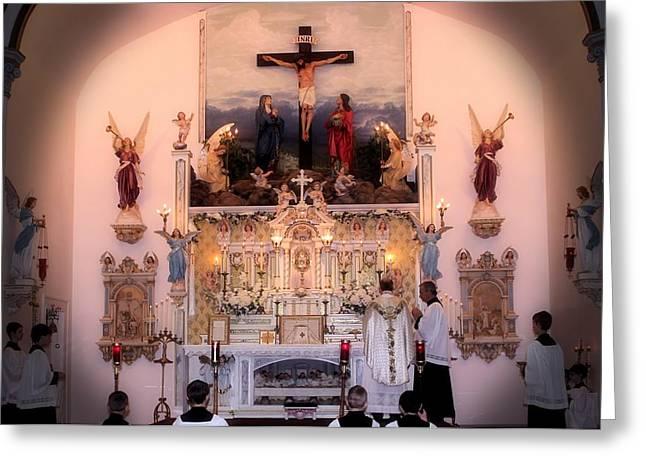 Catholic Mass Greeting Card by Myrna Migala