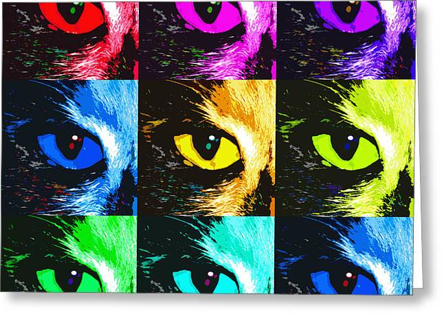 Cat's Eye In Hues Greeting Card by Betsy Knapp