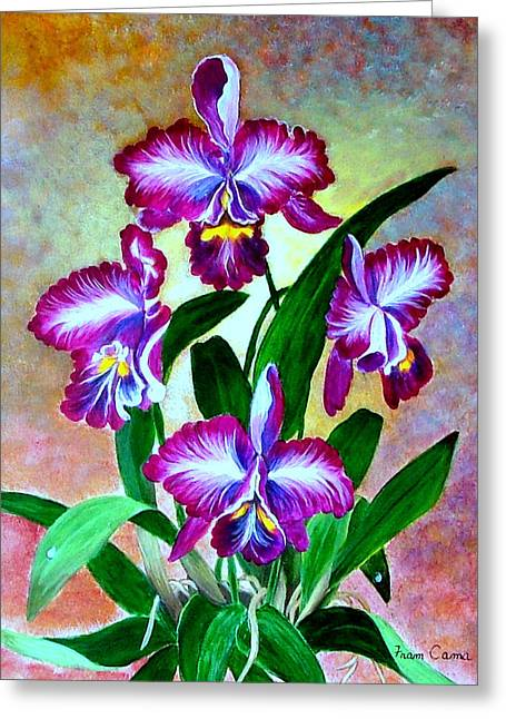 Greeting Card featuring the painting Cattleya Orchid by Fram Cama
