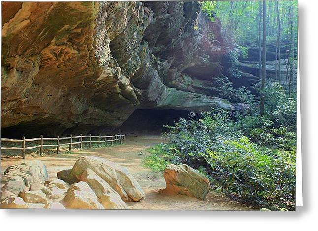 Greeting Card featuring the photograph Cave Entrance by Myrna Bradshaw