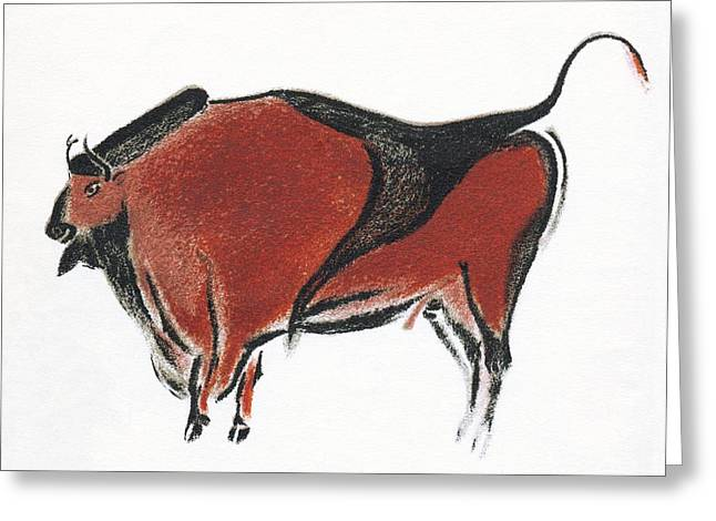 Cave Painting Of A Bison, Artwork Greeting Card by Sheila Terry
