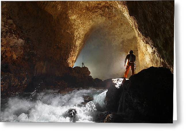 Cavers Light The Entrance Passage Greeting Card