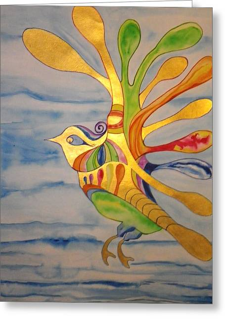 Cecilia The Psychedelic Seabird Greeting Card by Erika Swartzkopf