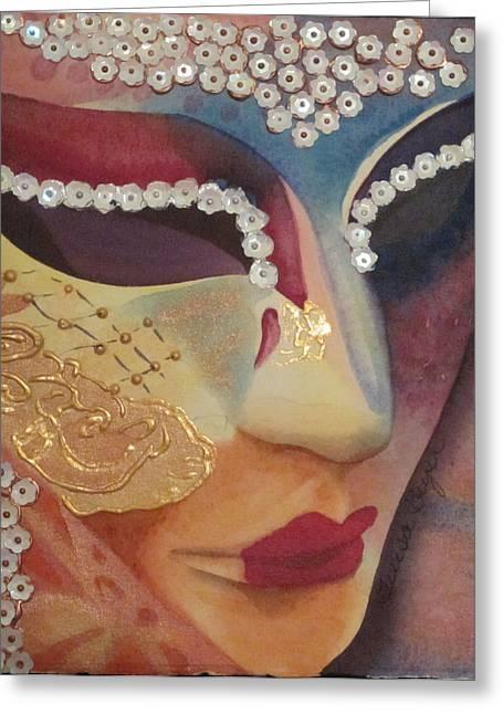 Celebration Mask Greeting Card by Teresa Beyer