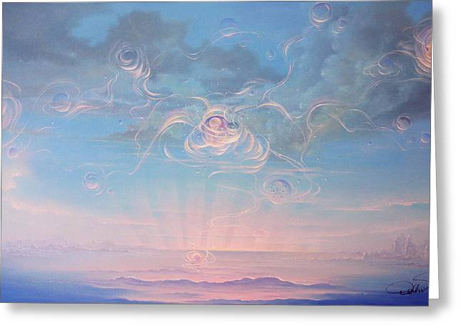 Celestial Connection Greeting Card by Hans Doller