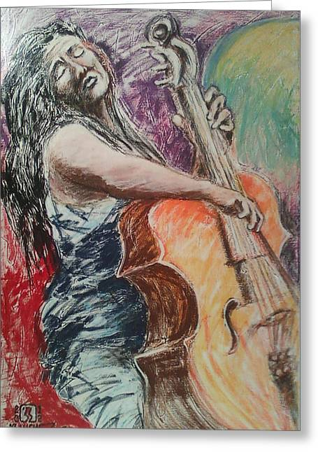 Cellist Greeting Card by Joemar Sanchez