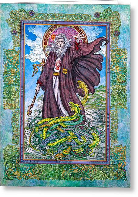 Celtic Irish Christian Art - St. Patrick Greeting Card by Jim FitzPatrick