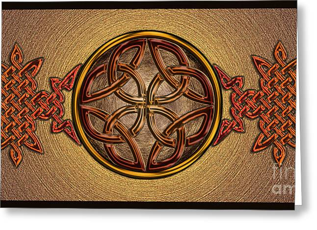 Greeting Card featuring the mixed media Celtic Knotwork Enamel by Kristen Fox