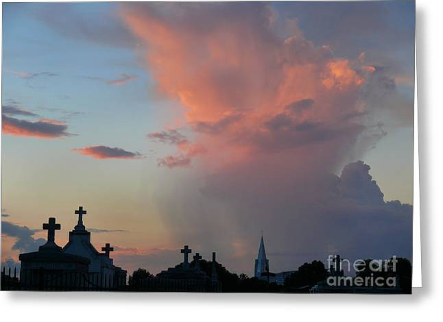 Greeting Card featuring the photograph Cemetery Skies by Jeanne  Woods