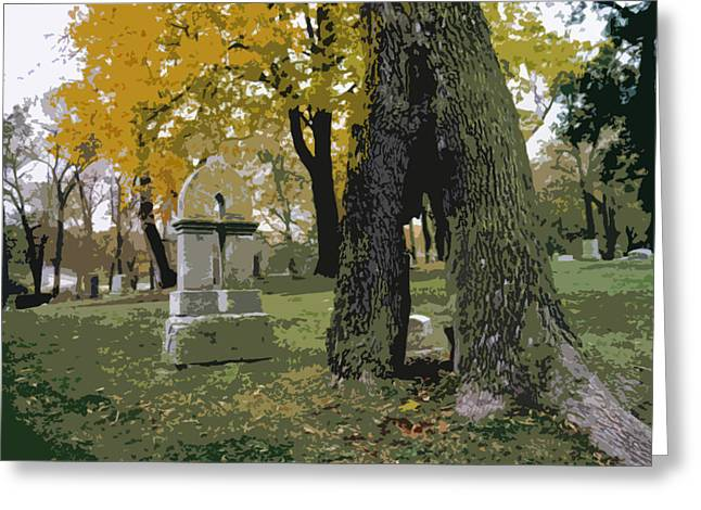 Greeting Card featuring the photograph Cemetery Tree by Kimberly Mackowski