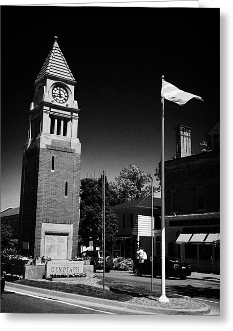 Cenotaph Clock Tower And Flagpole Niagara-on-the-lake Ontario Canada Greeting Card by Joe Fox