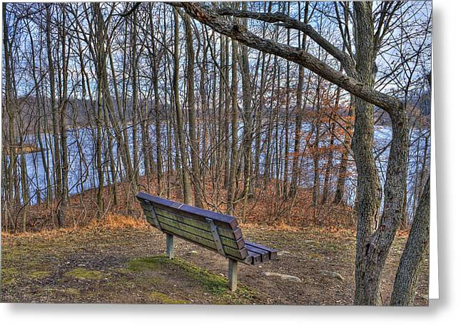 Centennial Lake Bench Greeting Card by Stephen Younts