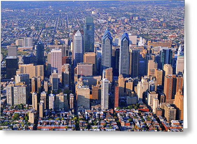 Center City Aerial Photograph Skyline Philadelphia Pennsylvania 19103 Greeting Card