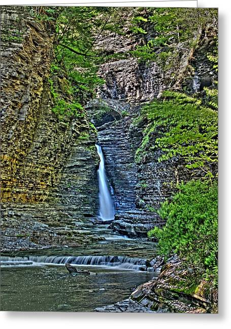 Central Cascade Of Watkins Glen Greeting Card by Joshua House
