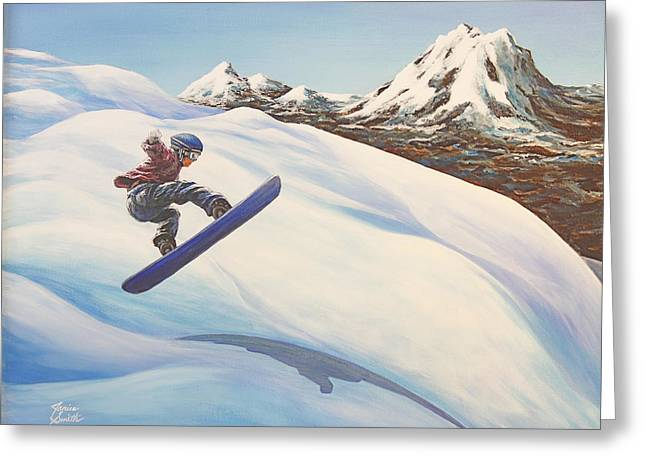 Central Oregon Snowboarding Greeting Card by Janice Smith