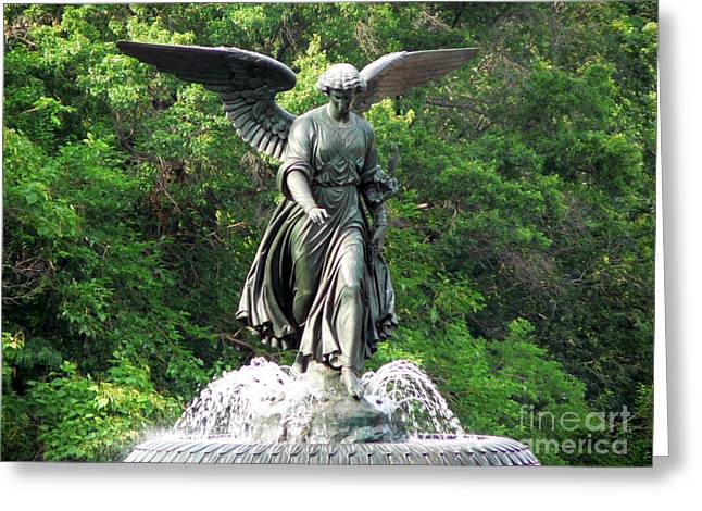 Central Park Angel Greeting Card by Elizabeth Fontaine-Barr