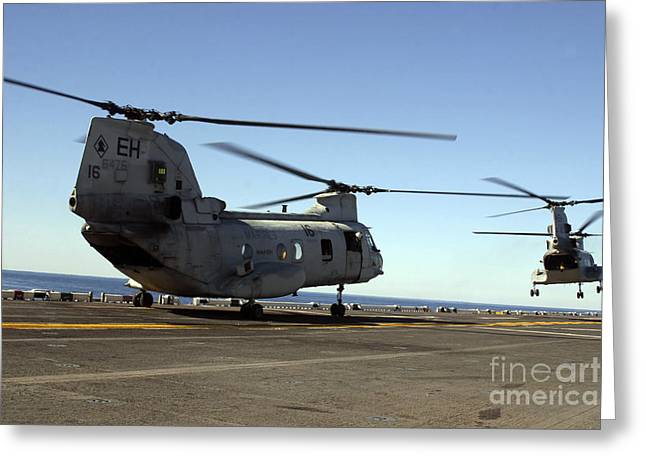 Ch-46e Sea Knight Helicopters Practice Greeting Card by Stocktrek Images