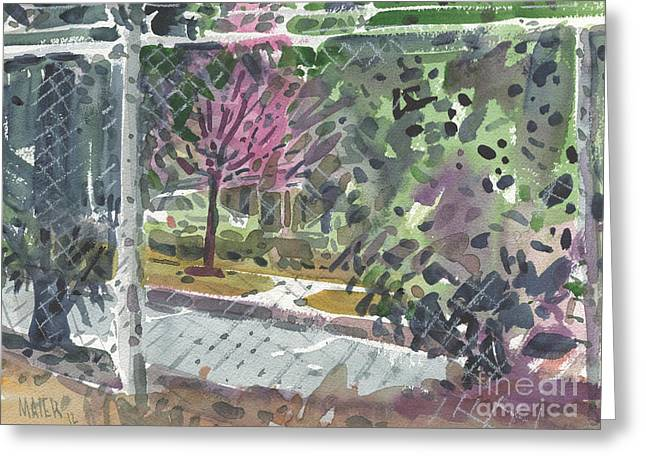 Chain Link Fence Greeting Card by Donald Maier